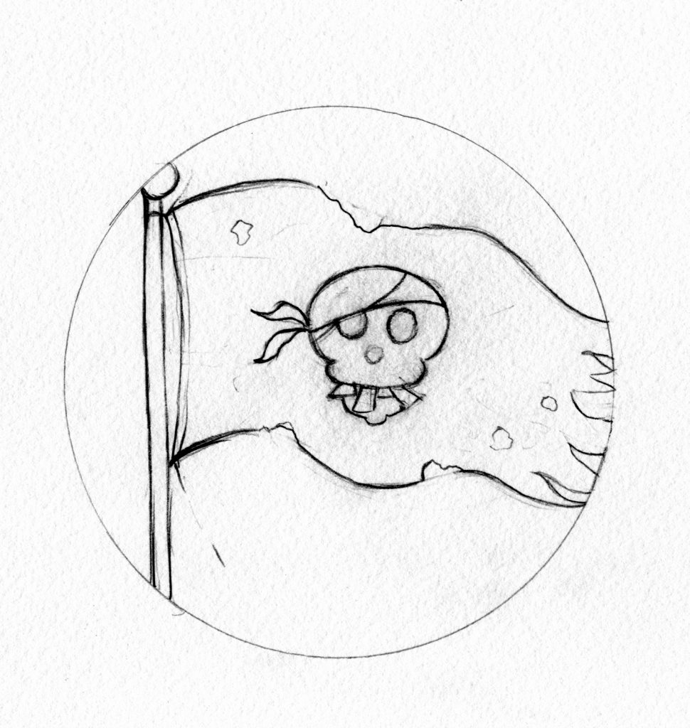 murpworks - The Tales of Silverdale - The Pirate's Lot - pirate flag sketch image